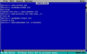 Beispiel einer CONFIG.SYS im DOS-Editor